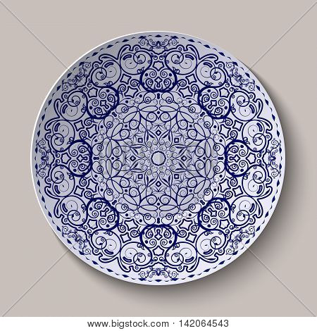 Round blue floral ornament Chinese style painting on porcelain. Pattern shown on the ceramic platter. Vector illustration.