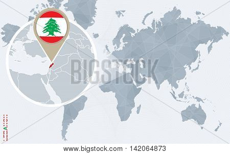 Abstract Blue World Map With Magnified Lebanon.