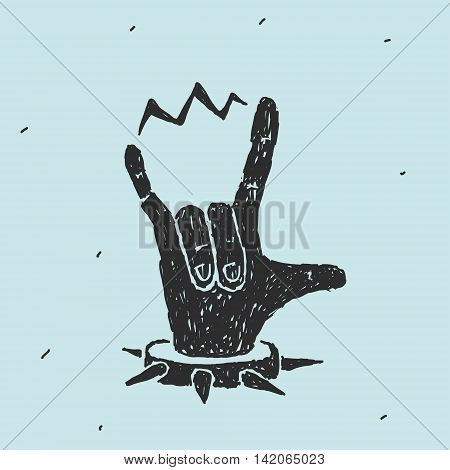 The Hand Symbol Heavy Metal Vector Illustration