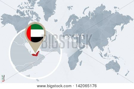 Abstract Blue World Map With Magnified United Arab Emirates.