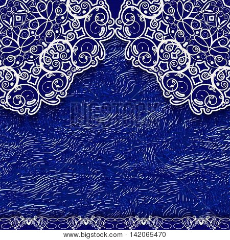 Blue lace background in ethnic style. Vector illustration.