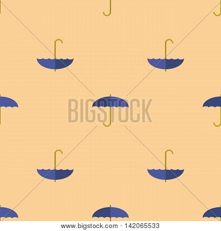 Blue Umbrella Seamless Pattern. Autumn Umbrellas Background