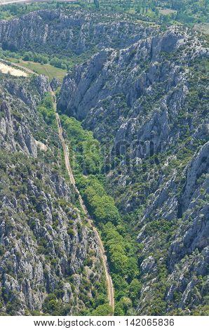 Aerial Photo Road Train Mountain Valley Green And Rock