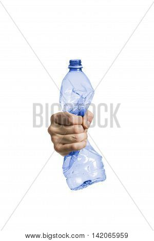 Plastic and pet recycling- studio shot of a squeezed plastic bottle isolated on white background