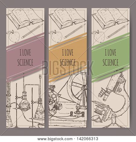 Three banners with hand drawn science equipment sketch. School memories collection. Great for school, education, book shop, retro design.