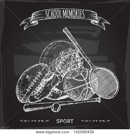 Vintage sport gear hand drawn sketch placed on blackboard background. School memories collection. Great for school, education, sport, retro design.