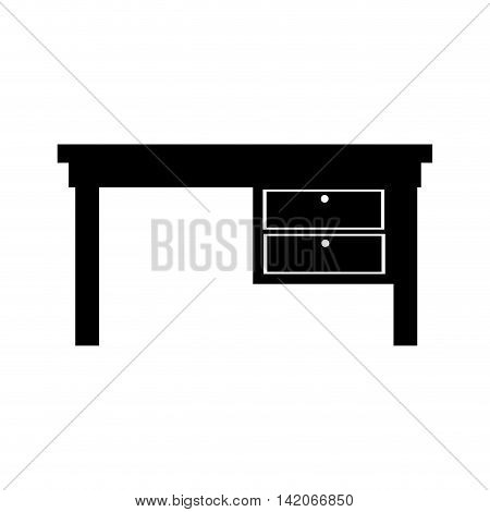desk front drawer office supplies furniture workplace silhouette interior vector graphic isolated and flat illustration