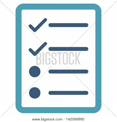 Checklist Page vector icon. Checklist Page icon symbol. Checklist Page icon image. Checklist Page icon picture. Checklist Page pictogram. Flat cyan and blue checklist page icon.