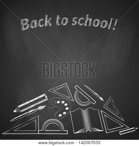 Background back to school. Black chalk board Vector illustration.