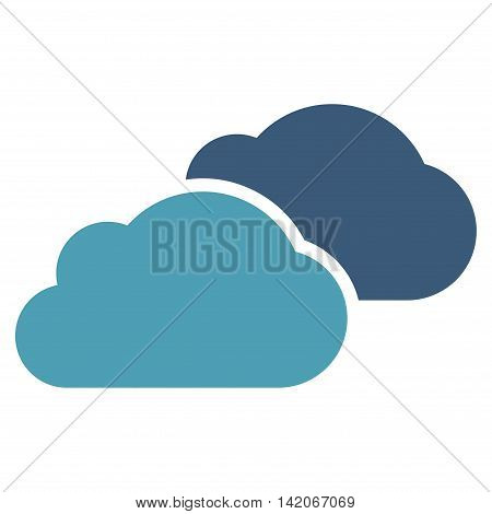 Clouds vector icon. Clouds icon symbol. Clouds icon image. Clouds icon picture. Clouds pictogram. Flat cyan and blue clouds icon. Isolated clouds icon graphic. Clouds icon illustration.