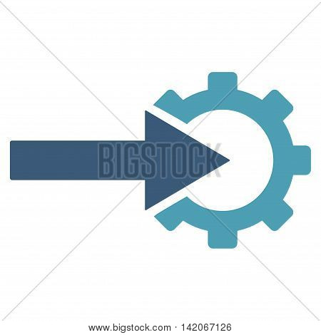 Cog Integration vector icon. Cog Integration icon symbol. Cog Integration icon image. Cog Integration icon picture. Cog Integration pictogram. Flat cyan and blue cog integration icon.