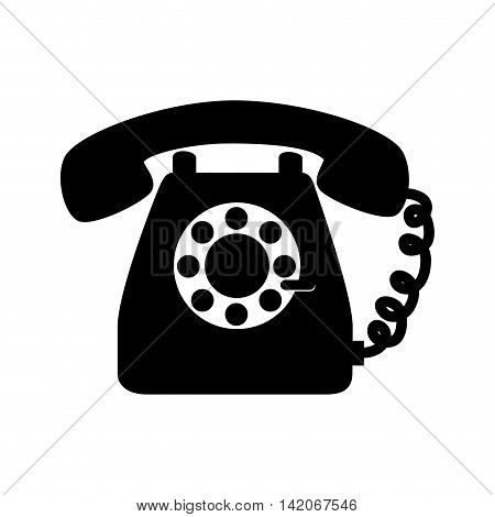 phone vintage telephone line technology home office communication call buttons ring  vector graphic isolated and flat illustration