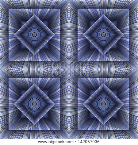 Pattern of the hollow striped cubes. Volumetric abstract background. 3D effect