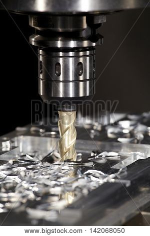 CNC drilling stell at work bit tools with parts