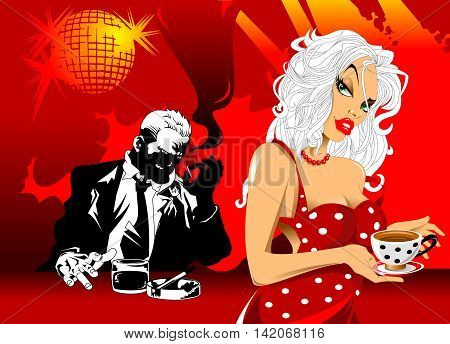 beautiful waitress serving customers in a nightclub vector