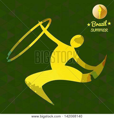 Brazil summer sport card with an yellow abstract rhythmic hoop gymnastics player. Digital vector image