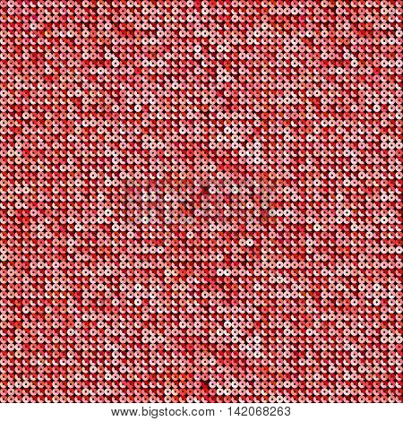 Background with shiny red sequins. Sparkle glitter background. Glittering sequins wall.