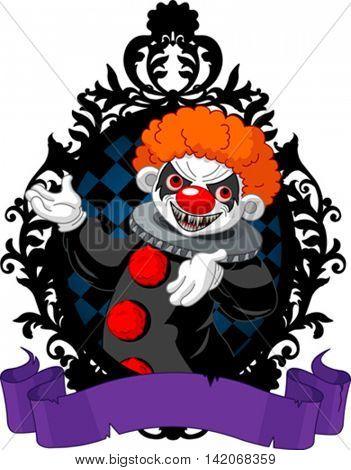 Spooky Halloween Clown in a black frame