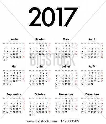 French Calendar grid for 2017 year. Best for calendar print business web design office needs and presentations. Mondays first. Vector illustration