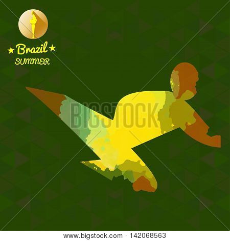 Brazil summer sport card with an yellow abstract sportsman fighting and performing a kick. Digital vector image