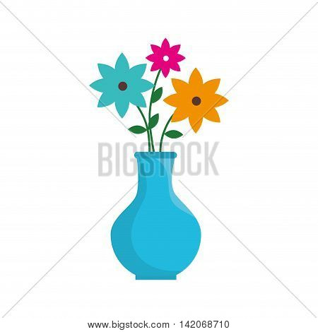 flower in vase flowerpot bouquet floral decoration vector graphic isolated and flat illustration