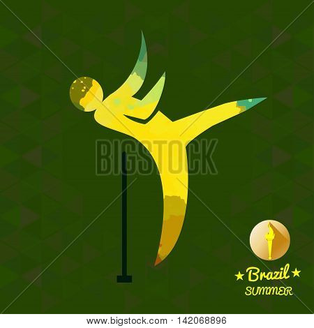 Brazil summer sport card with an yellow abstract hammer thrower. Digital vector image