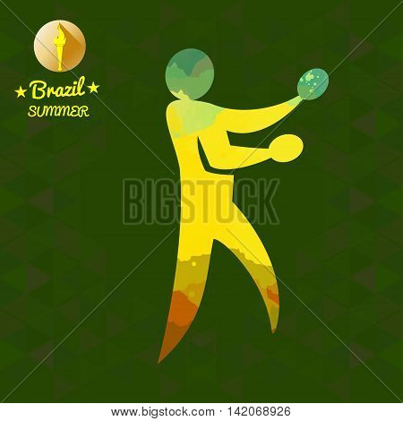 Brazil summer sport card with an yellow abstract table tennis player. Digital vector image