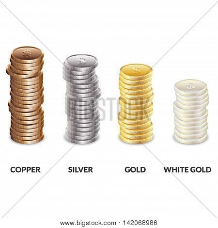 Set of columns of coins of different metals. Bars of copper silver and gold dollars. Vector illustration.
