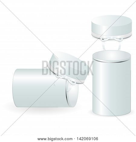 Set of two open round gift boxes. Vector illustration.