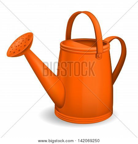 Orange watering can. Isolated on white background. Vector.