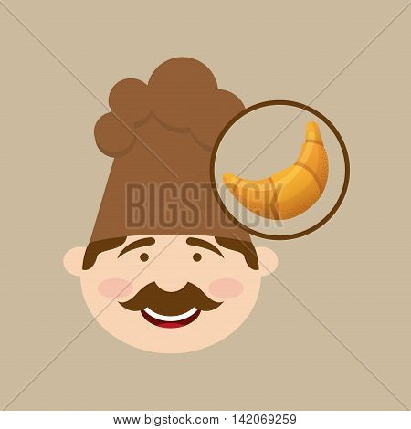 baker cooking and holding french croissant illustration