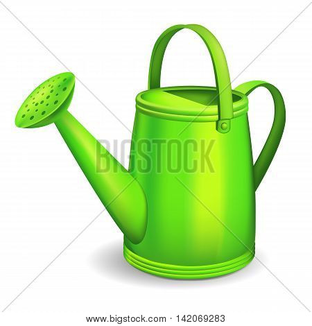 Green watering can on white background. Vector illustration.