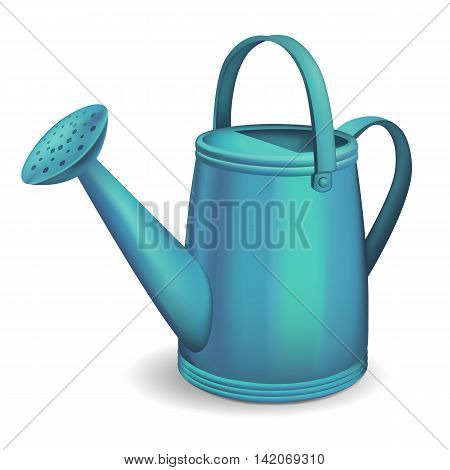 Blue watering can on white background. Vector illustration.