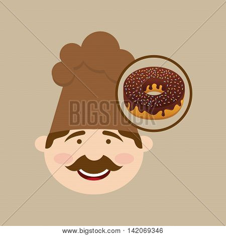 baker cooking and holding sweet donuts illustration