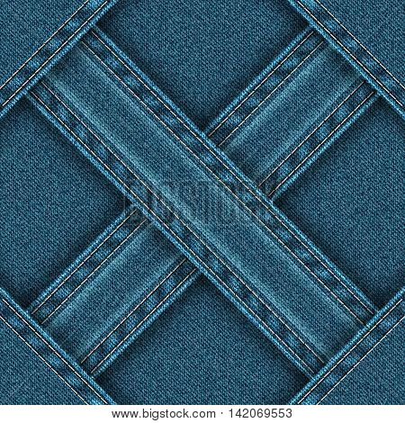 Denim seamless pattern is divided ribbons sewn into four zones. Vector illustration.