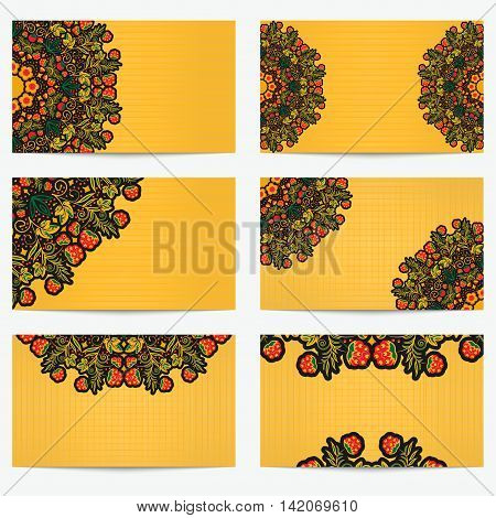 Set of horizontal business cards with flowers and berries. Bright vintage pattern style Khokhloma for artistic and creative companies in the field of beauty and fashion. Vector illustration.