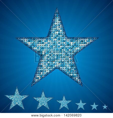Silhouette of sequins stars on a blue background.