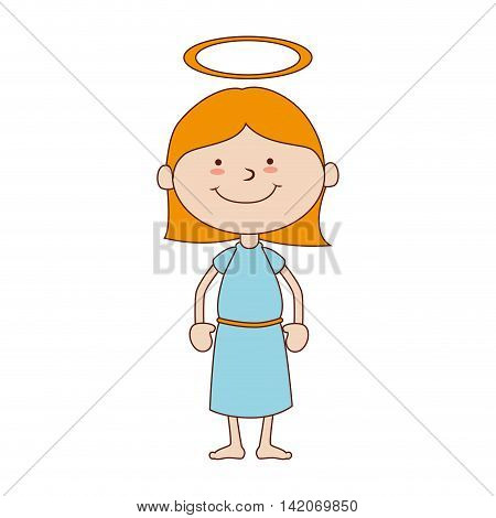 girl halo heavenly saint smiling hair face body happy child cute vector graphic isolated and flat illustration