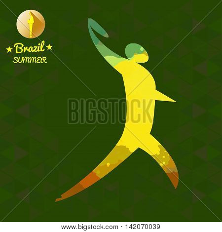 Brazil summer sport card with an yellow abstract discus thrower. Digital vector image
