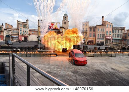 Orlando Florida - March 27th 2016: Last performance of stunt car show in Orlando Florida on March 27th 2016