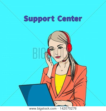 Vector illustration of a concept of support center. Beautiful girl talking on the microphone and headphones with the laptop.