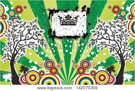 Abstract summer card with trees and crown