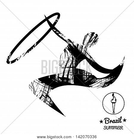 Brazil summer sport card with an abstract rhythmic hoop gymnastics player in black outlines. Digital vector image