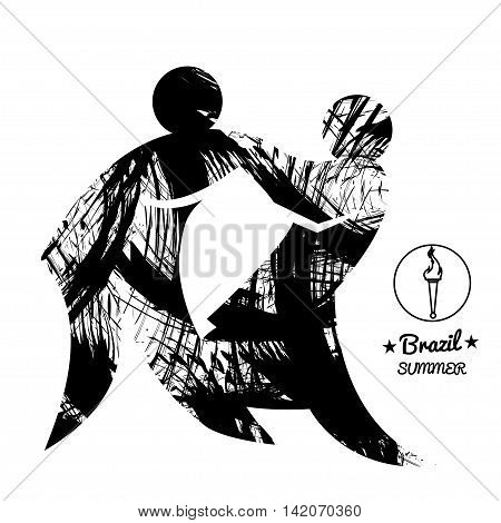 Brazil summer sport card with two abstract wrestlers in black outlines. Digital vector image