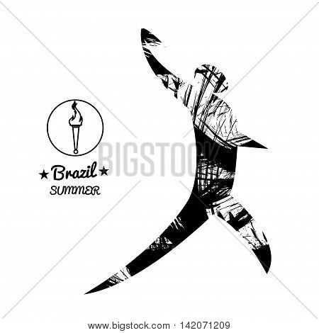 Brazil summer sport card with an abstract discus thrower in black outlines. Digital vector image
