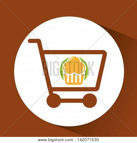 shopping muffins, fresh bakery products, vector illustration