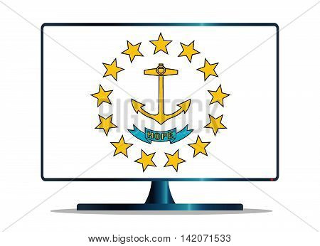 A TV or computer screen with the Rhode Island state flag