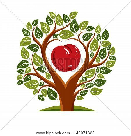 Vector illustration of tree with branches in the shape of heart with an apple inside