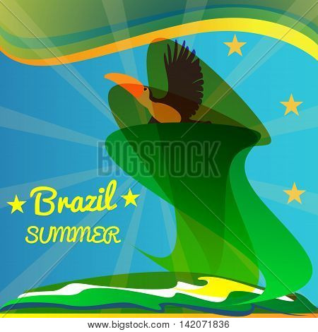 Abstract summer brazil card with toucan bird and stars over rays and sea background. Digital vector image