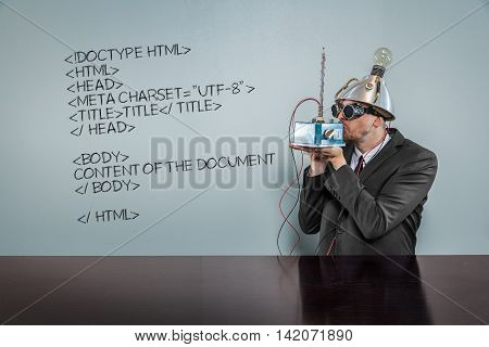 Html code text with vintage businessman kissing machine